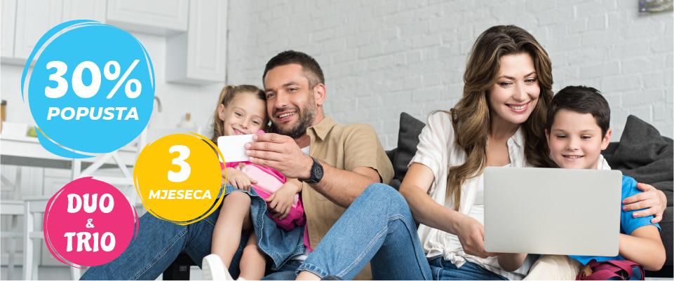 Uživajte u DUO i TRIO paketima uz 30% popusta prva 3 mjeseca